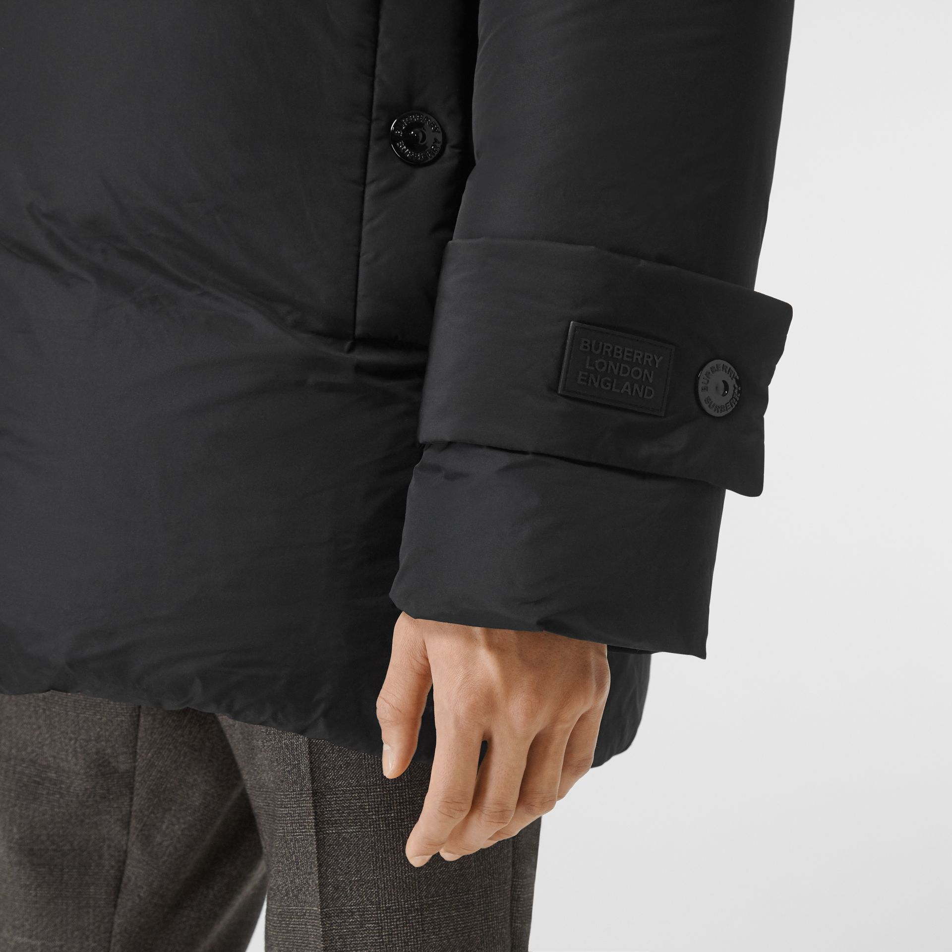 Detachable Hood Down-filled Oversized Wrap Coat in Black - Men | Burberry United Kingdom - gallery image 4