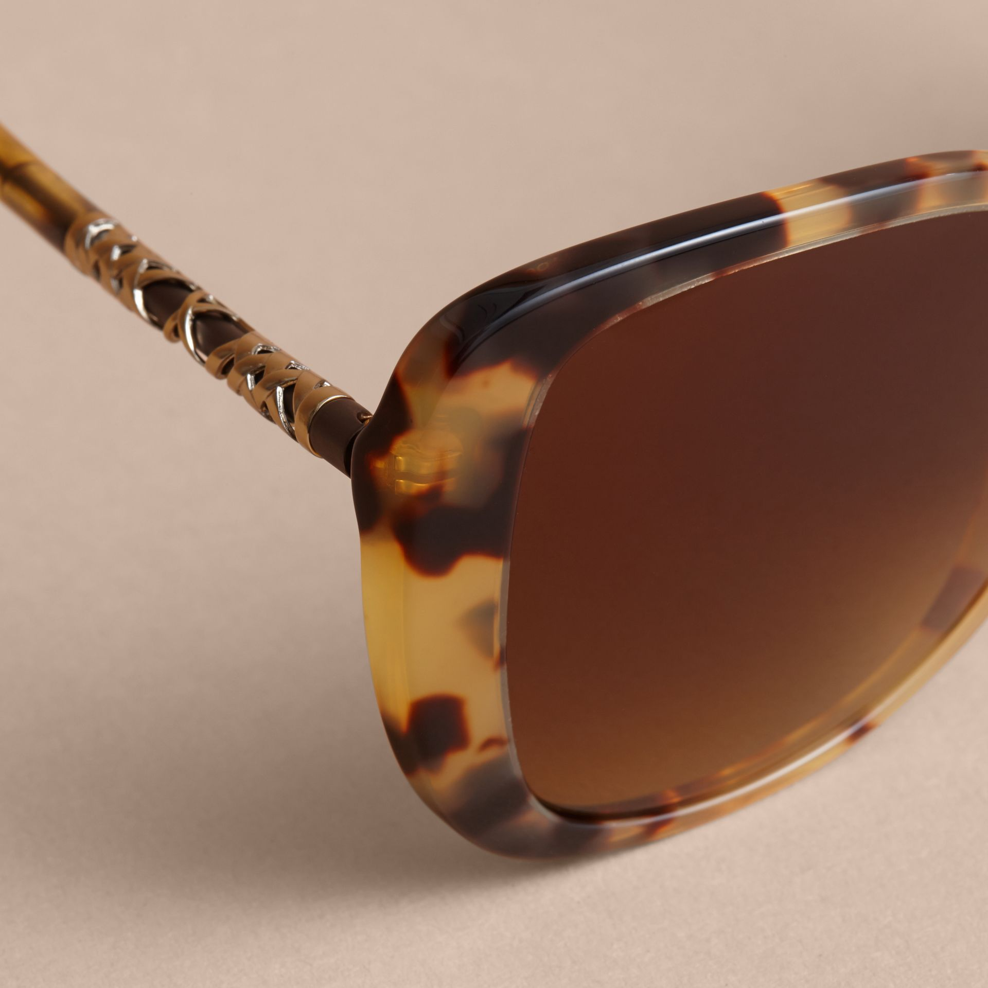 Check Detail Butterfly Frame Sunglasses Umber Yellow - gallery image 2