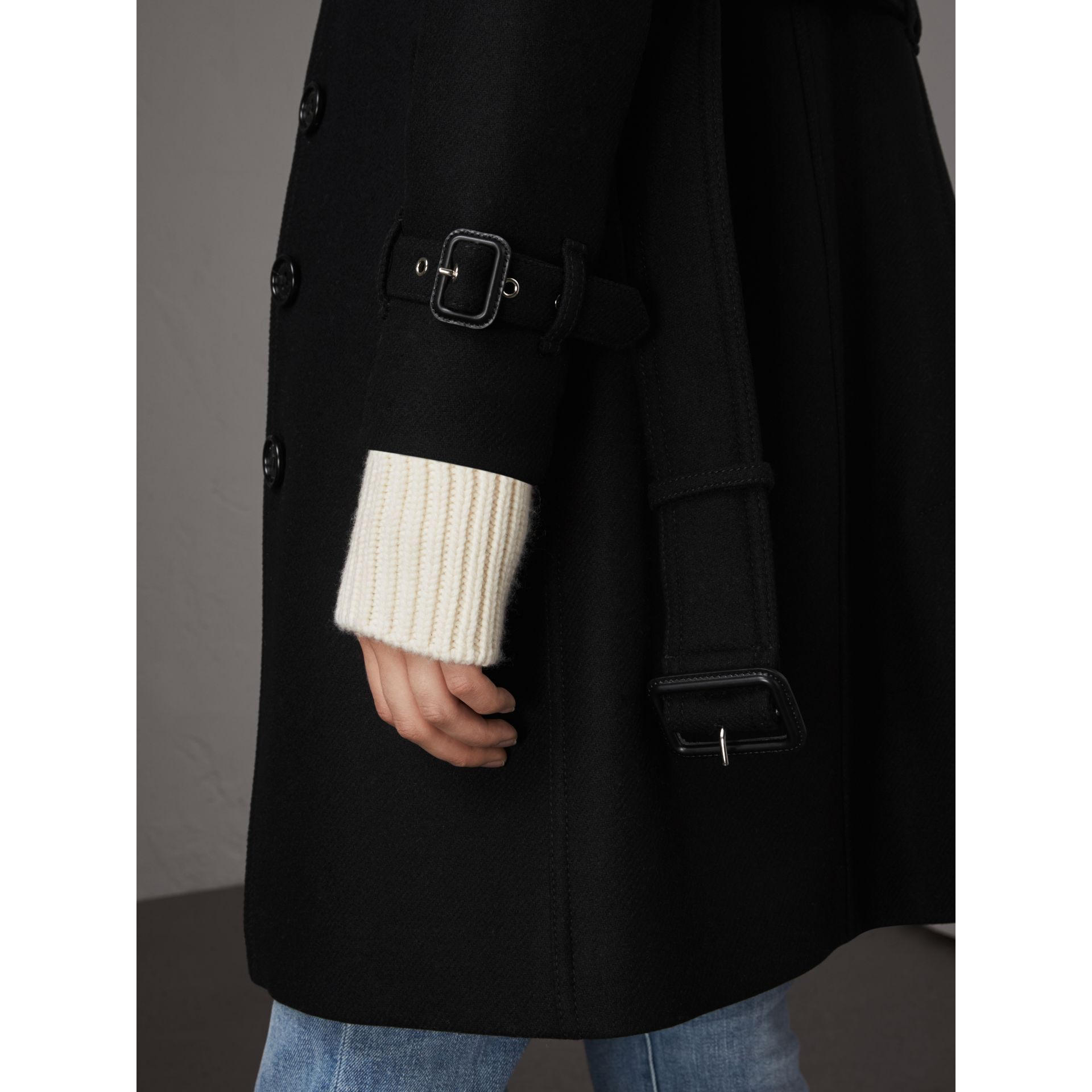 Technical Wool Cashmere Funnel Neck Coat in Black - Women | Burberry - gallery image 5