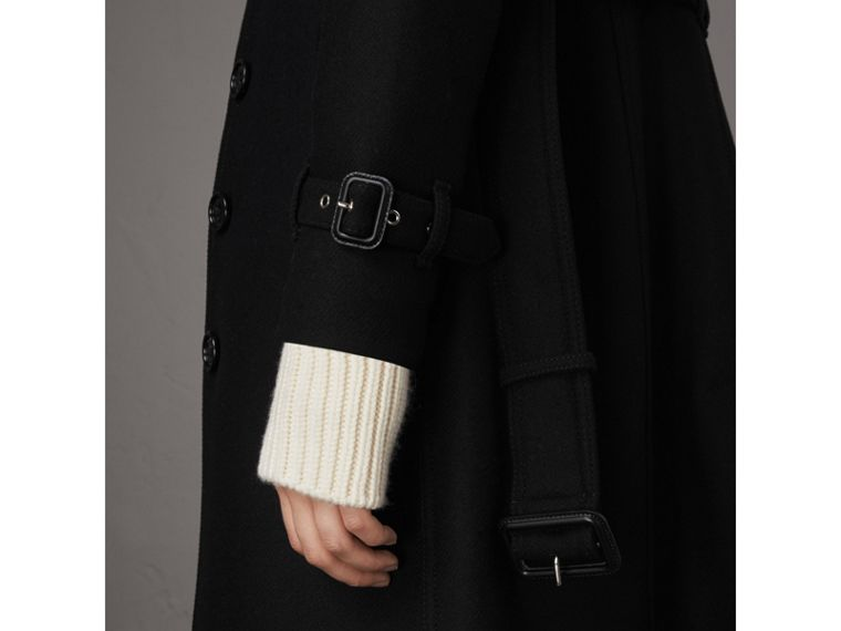 Technical Wool Cashmere Funnel Neck Coat in Black - Women | Burberry Canada - cell image 4