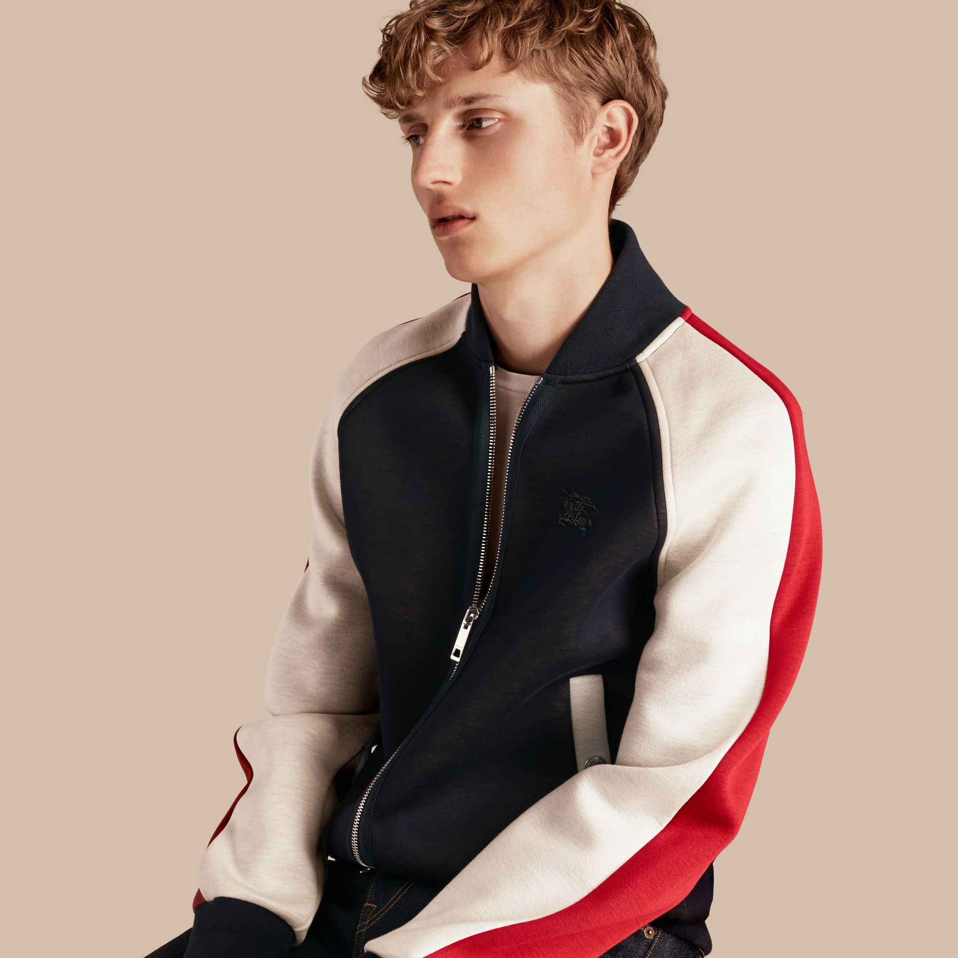 Panelled Jersey Bomber Jacket - Men | Burberry Singapore - gallery image 1