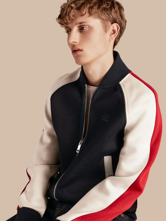 Panelled Jersey Bomber Jacket