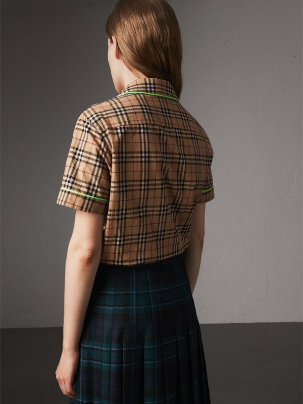 Contrast Piping Check Cotton Pyjama-style Shirt in Camel - Women | Burberry - cell image 2