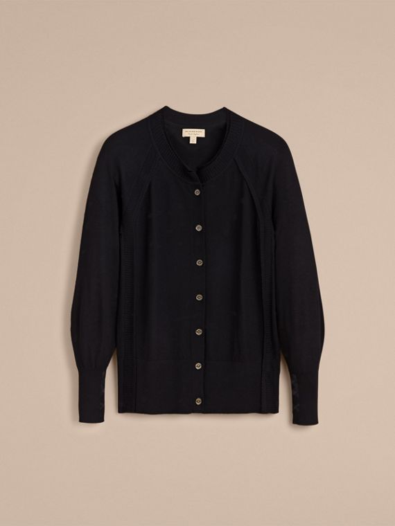 Open-knit Detail Cashmere Cardigan in Black - Women | Burberry - cell image 3