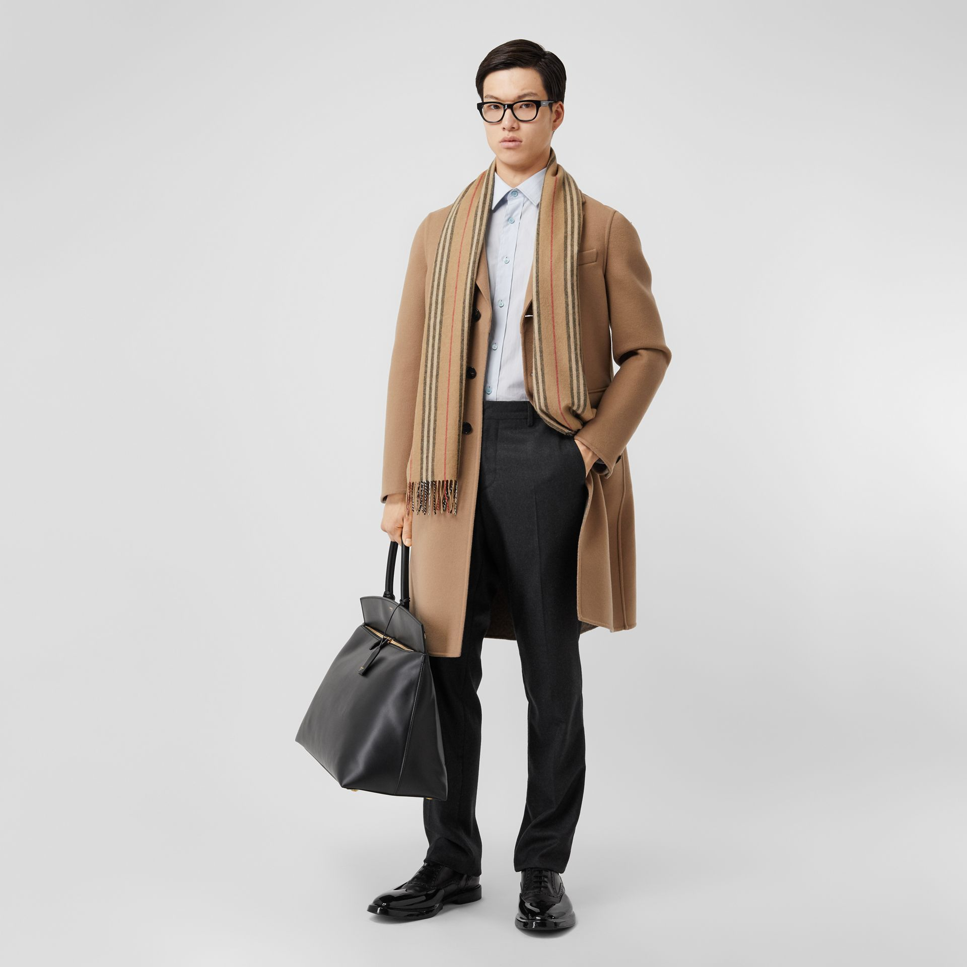 Icon Stripe Cashmere Scarf in Archive Beige   Burberry - gallery image 7