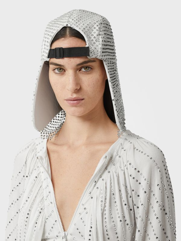 Crystal Mesh Detail Cotton Bonnet Cap in Optic White | Burberry - cell image 2