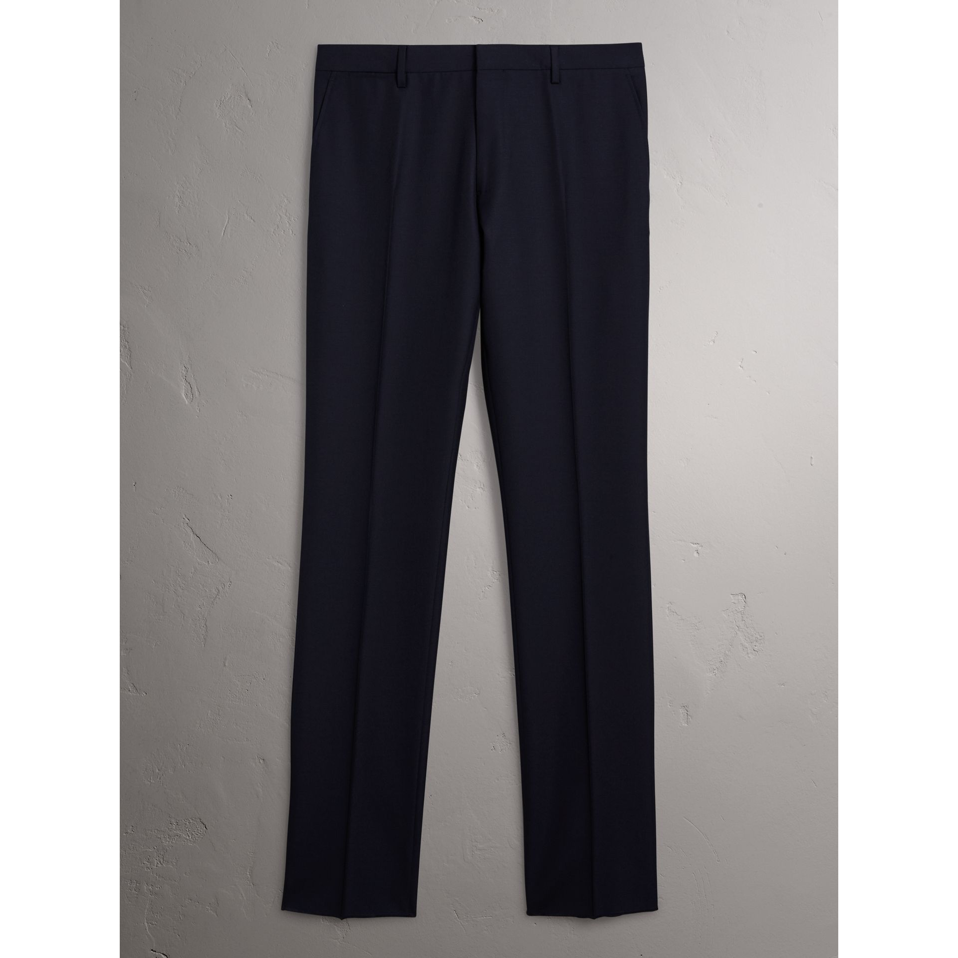 Modern Fit Wool Trousers in Navy - Men | Burberry Canada - gallery image 3