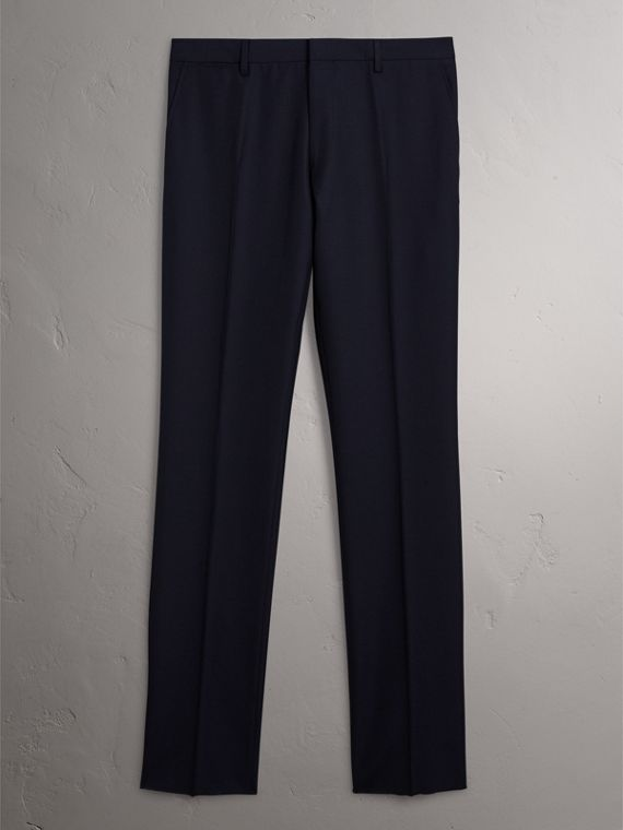 Modern Fit Wool Trousers in Navy - Men | Burberry - cell image 3