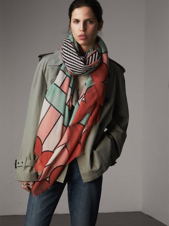 Striped Exaggerated Check Cashmere Silk Scarf in Apricot Pink - Women | Burberry - cell image 2