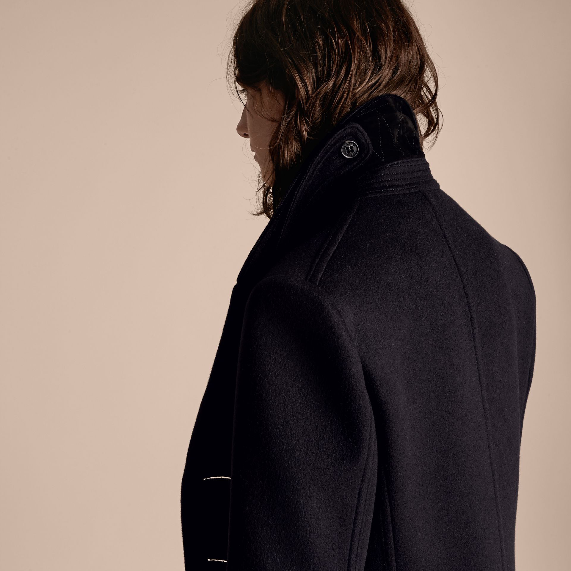 Navy Waisted Cashmere Wool Blend Pea Coat - gallery image 7
