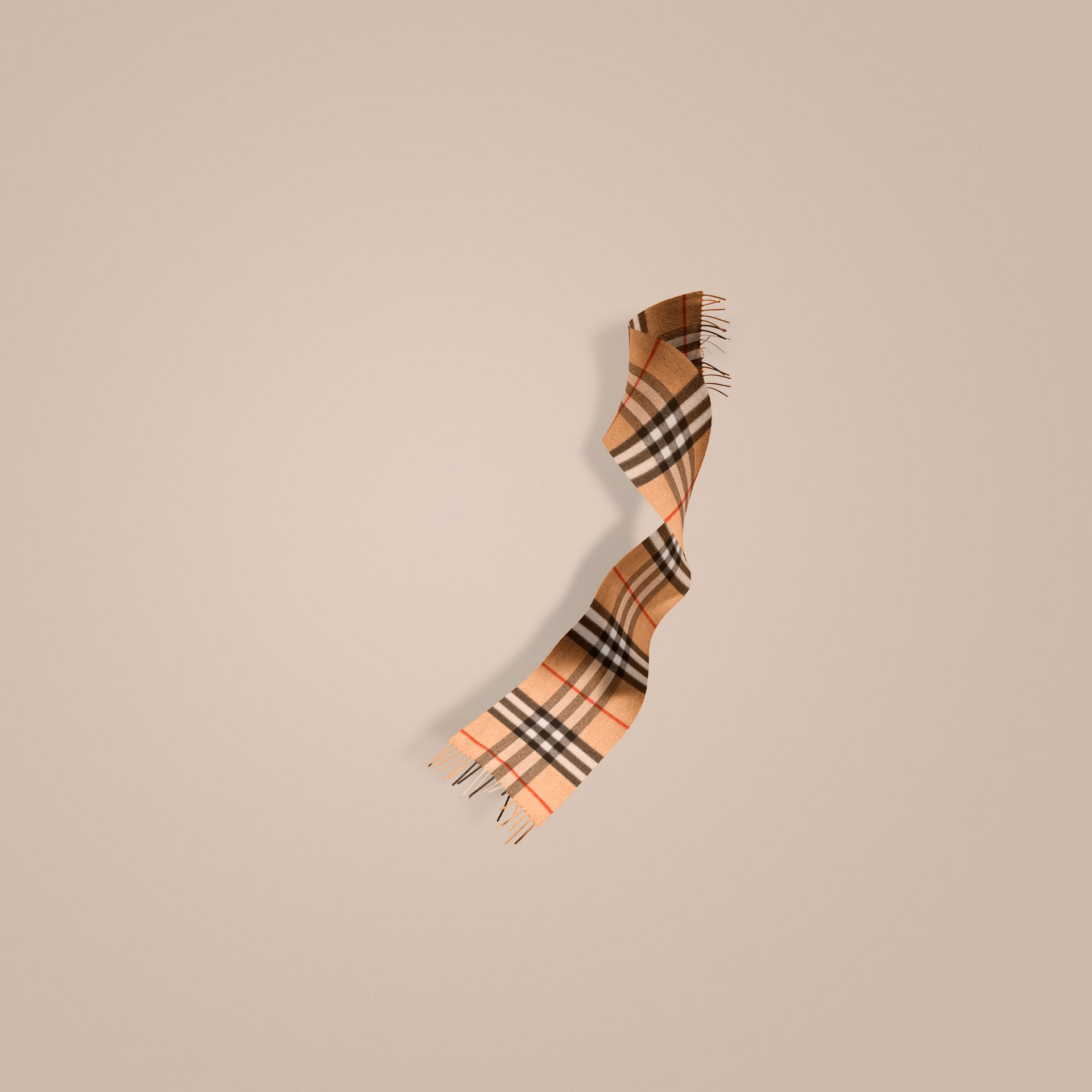 Check cammello Sciarpa classica mini in cashmere con motivo tartan Check Cammello - immagine della galleria 1