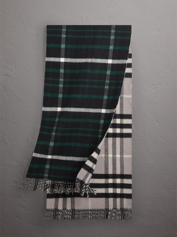 Check Wool Cashmere Oversize Scarf in Black