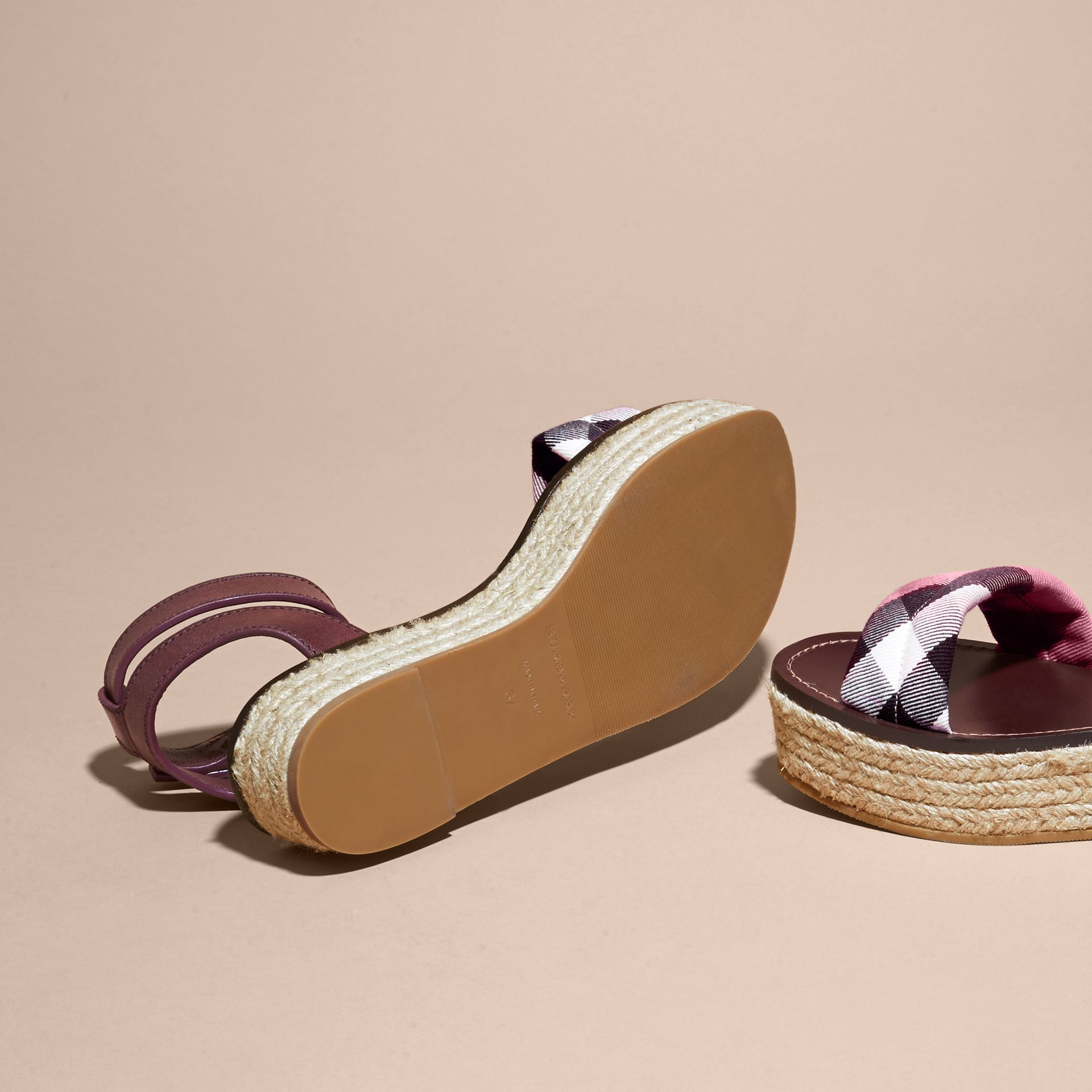 Leather and House Check Espadrille Platform Sandals in Cerise Purple - gallery image 6