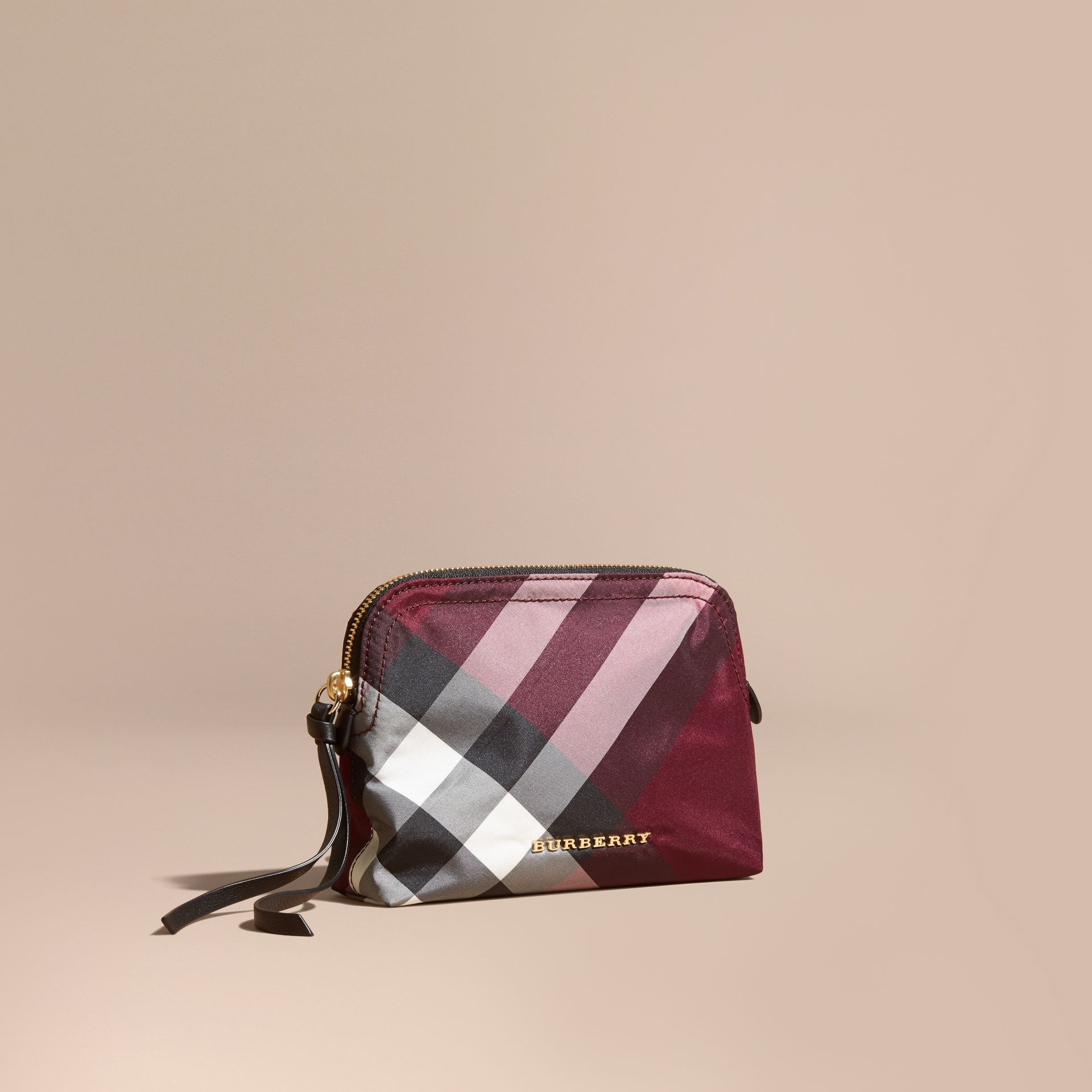 Medium Zip-top Check Technical Pouch in Plum - Women | Burberry Canada - gallery image 1