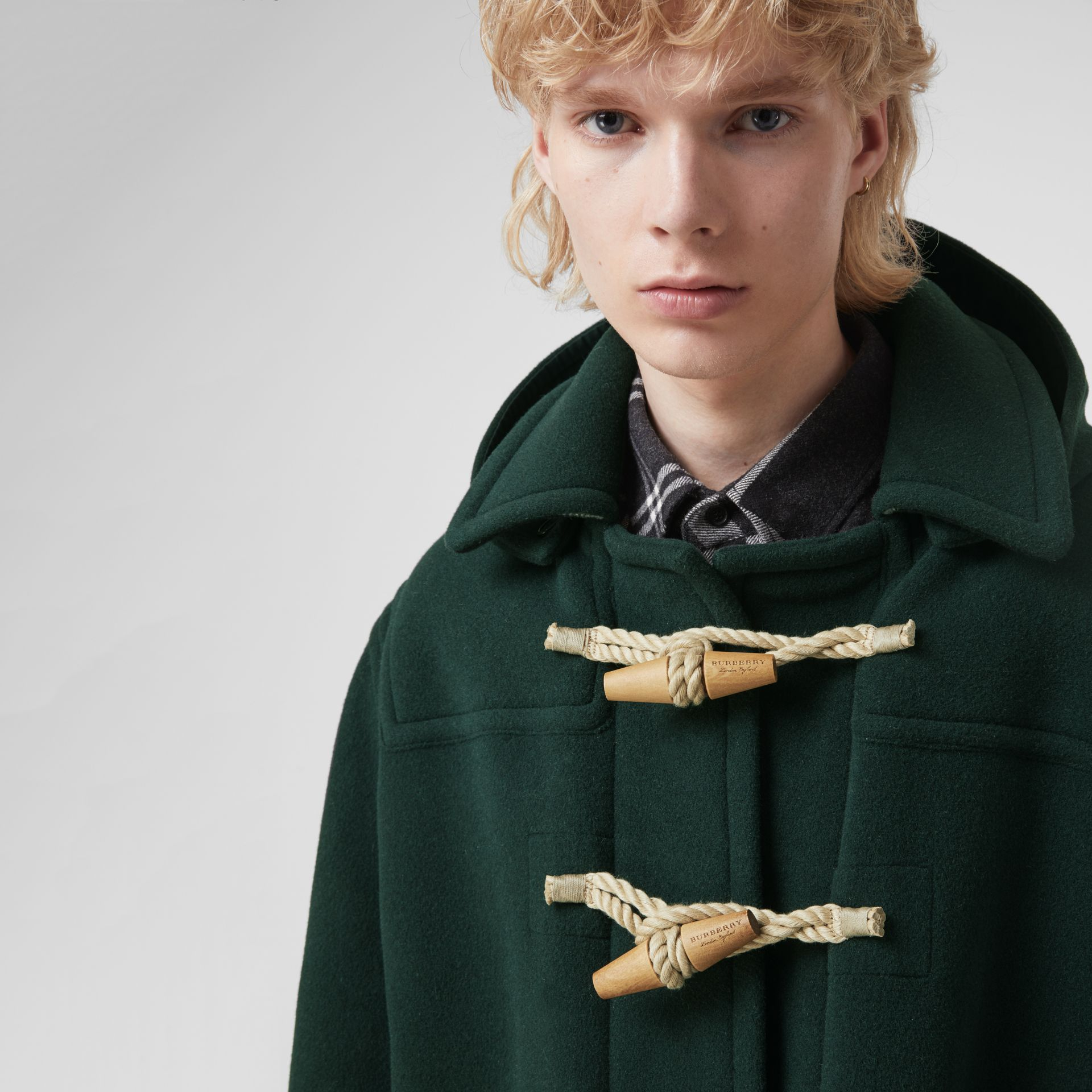 Gosha x Burberry Oversized Duffle Coat in Dark Forest Green | Burberry United Kingdom - gallery image 7