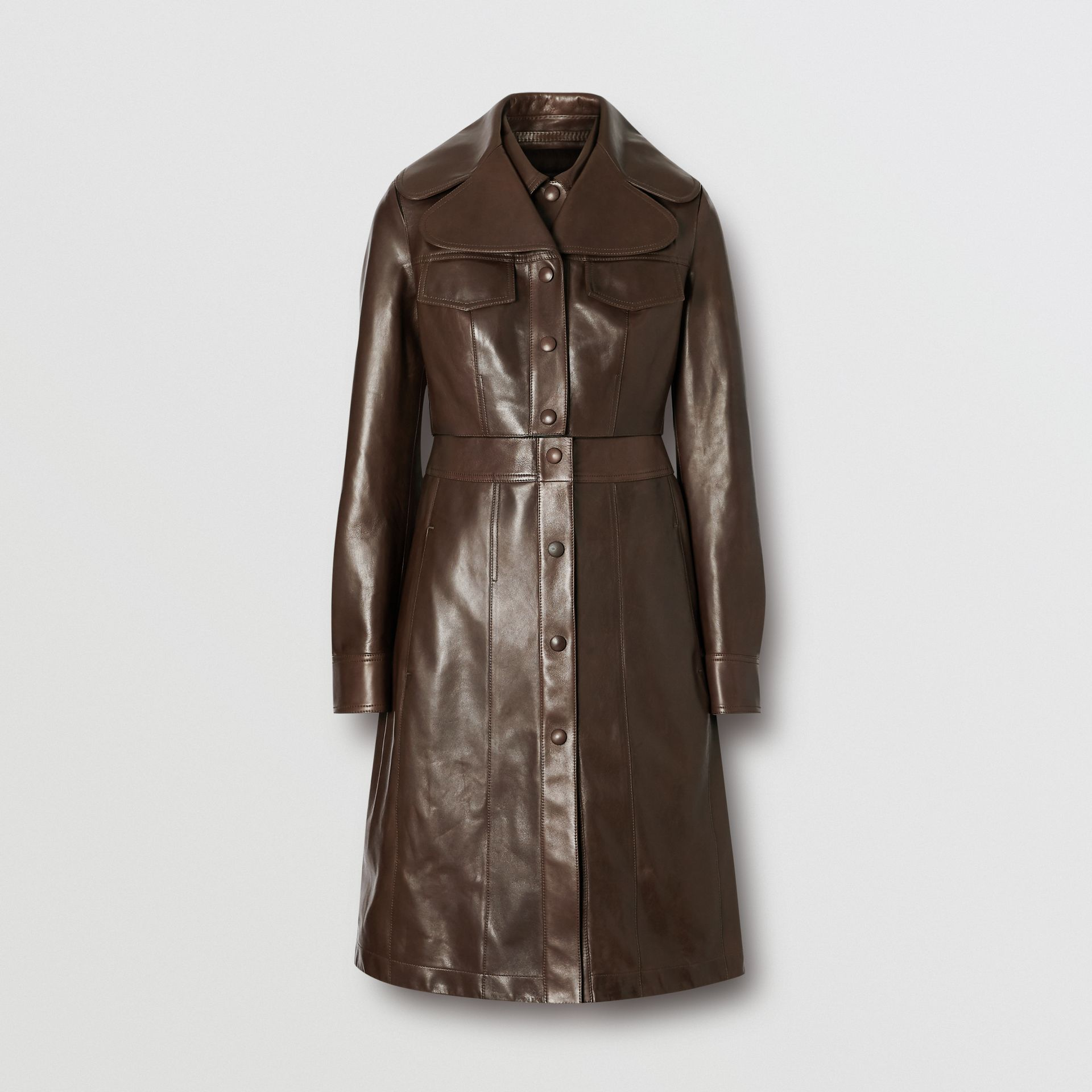 Lambskin Coat with Detachable Cropped Gilet in Dark Brown - Women | Burberry - gallery image 3