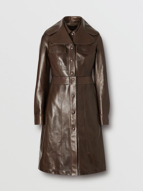 Lambskin Coat with Detachable Cropped Gilet in Dark Brown - Women | Burberry - cell image 3