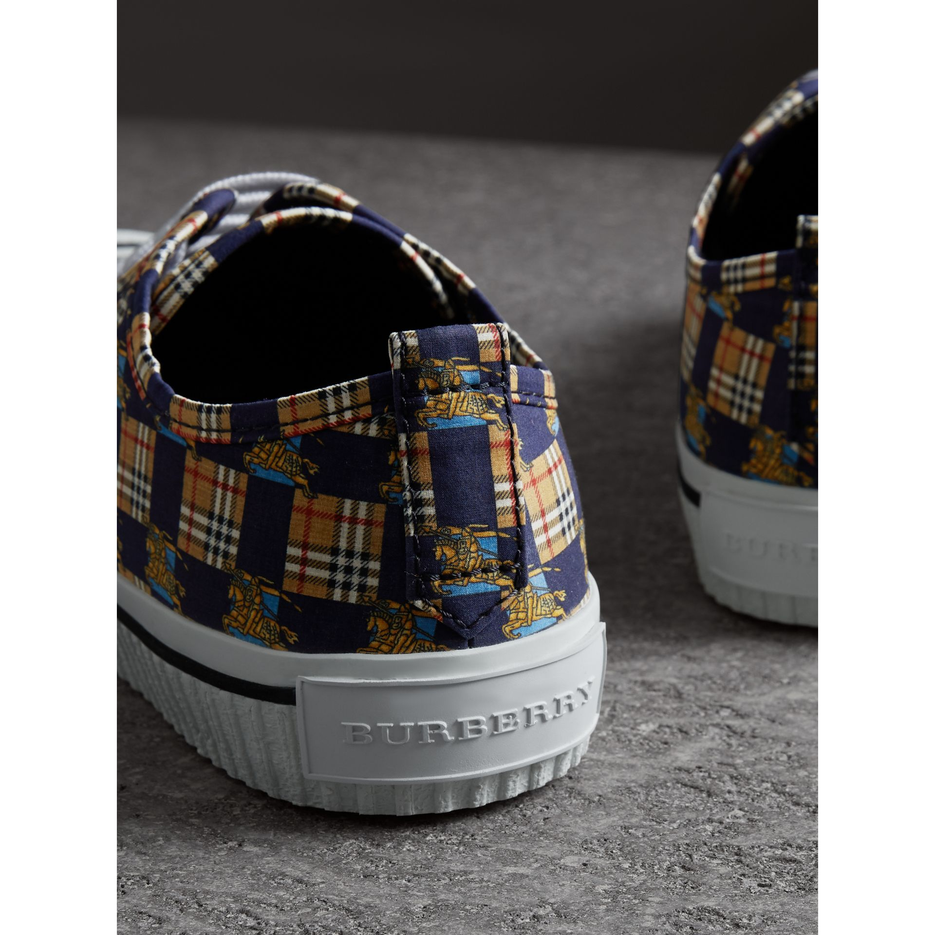 Tiled Archive Print Cotton Sneakers in Navy | Burberry - gallery image 3