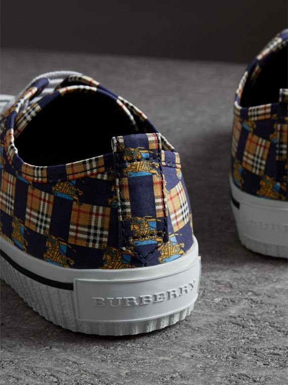 Tiled Archive Print Cotton Sneakers in Navy - Men | Burberry Hong Kong - cell image 2
