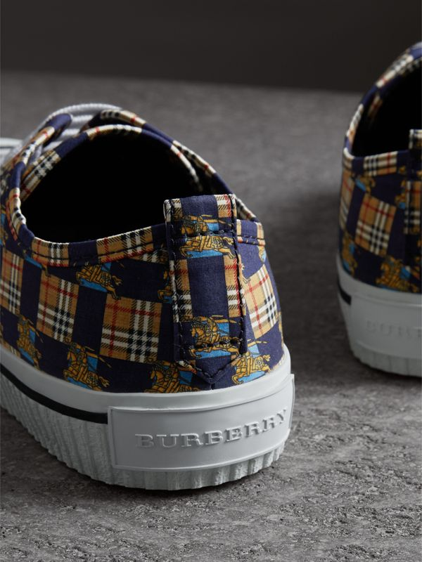 Tiled Archive Print Cotton Sneakers in Navy | Burberry - cell image 3