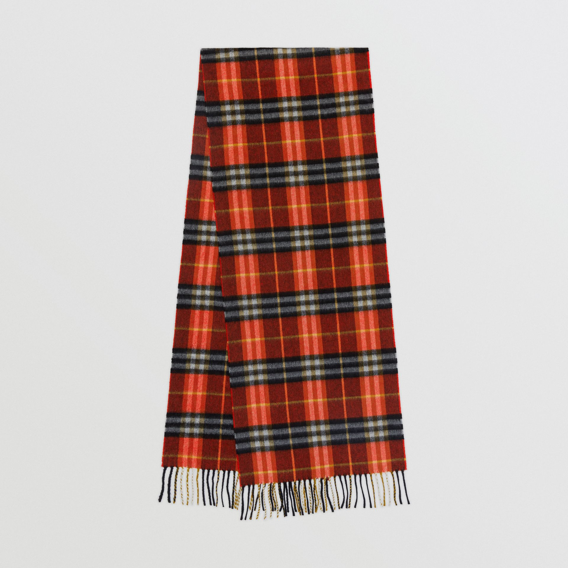 Check Cashmere Scarf in Orange Red | Burberry Hong Kong - gallery image 0