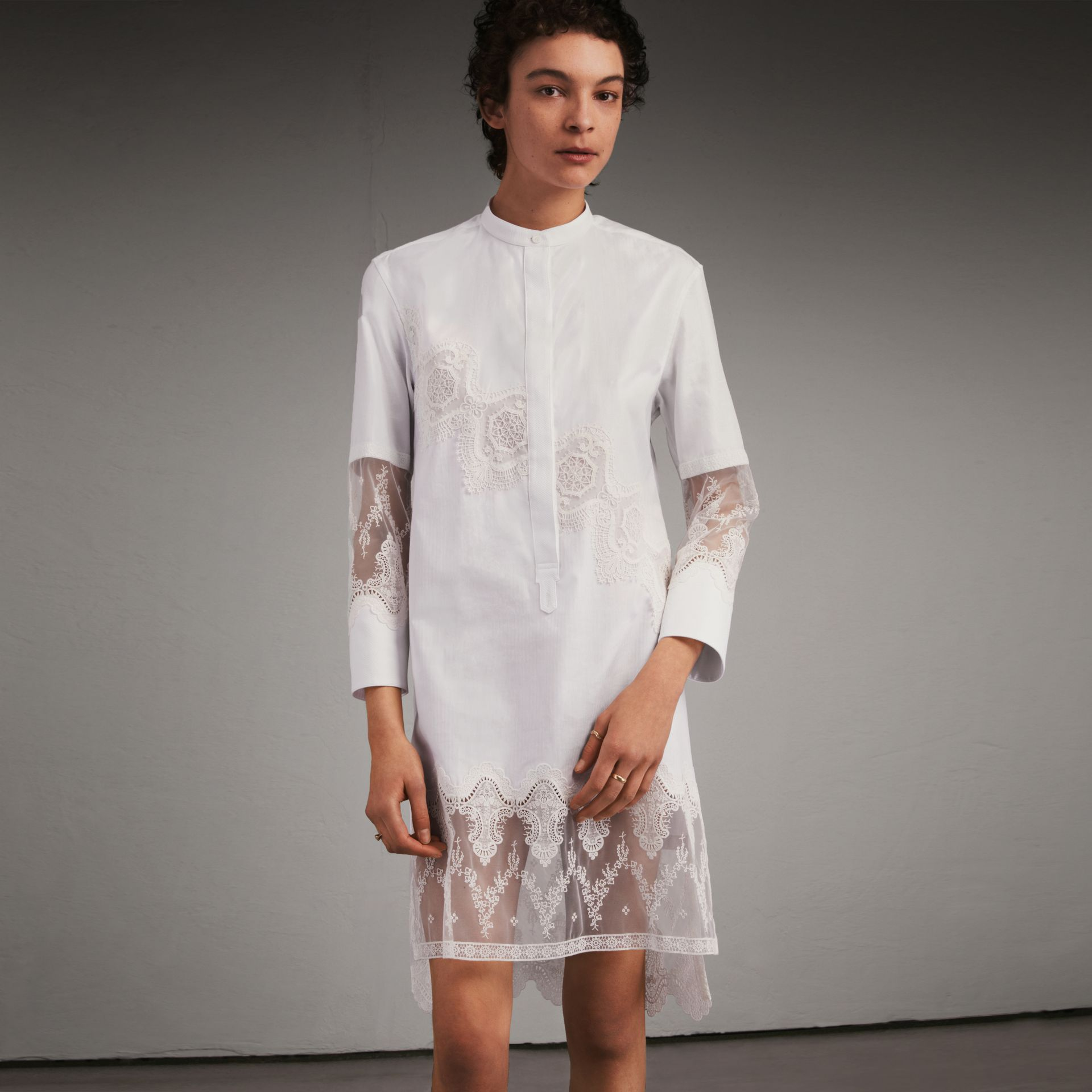 Lace Cutwork Cotton Shirt Dress in White - Women | Burberry - gallery image 1