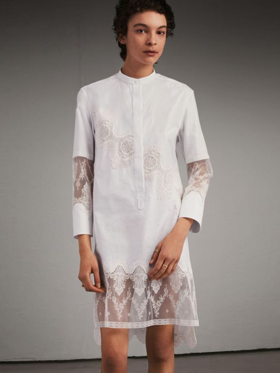 Cotton Shirt Dress with Lace Panels