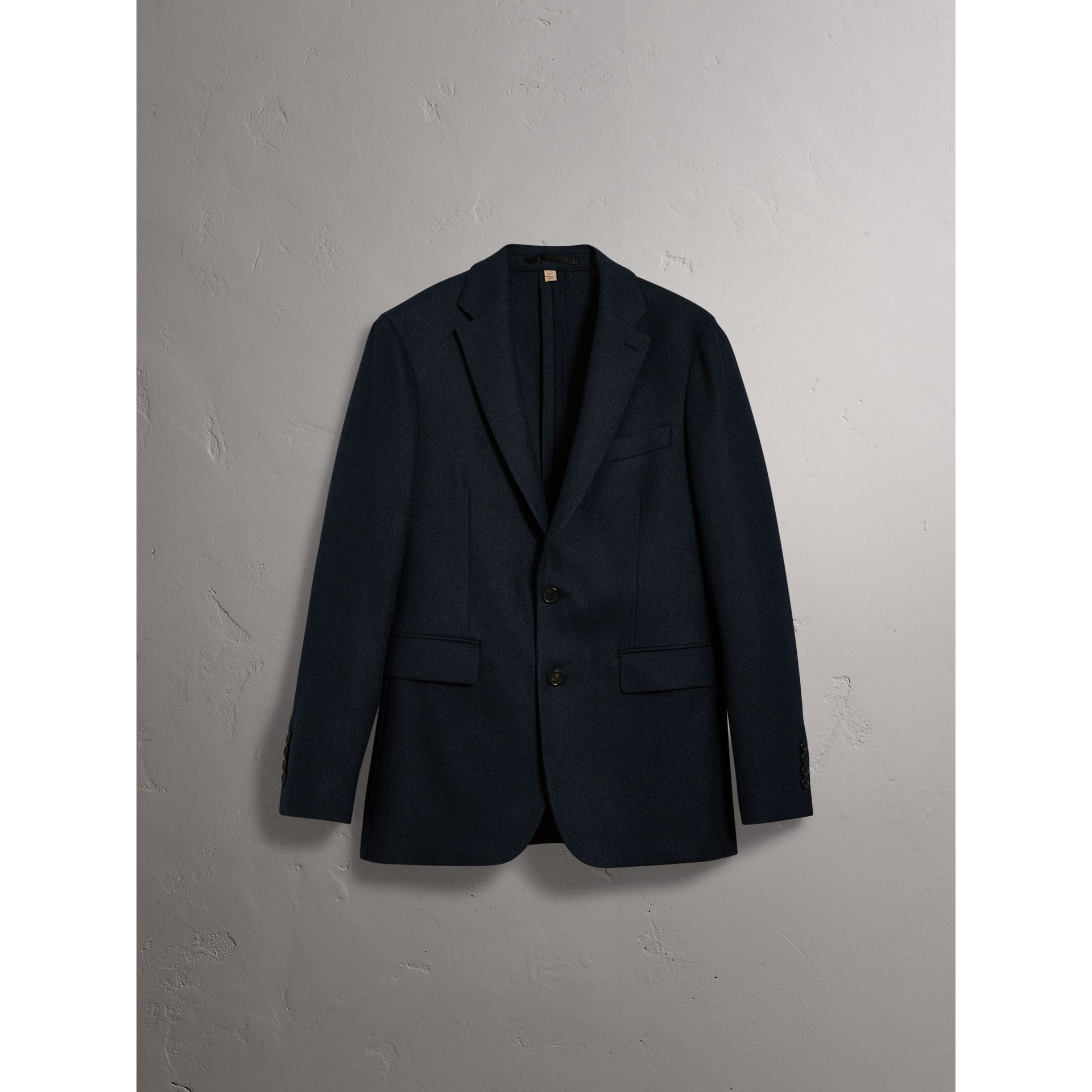 Soho Fit Herringbone Wool Tailored Jacket in Ink Blue/black - Men | Burberry United Kingdom - gallery image 2