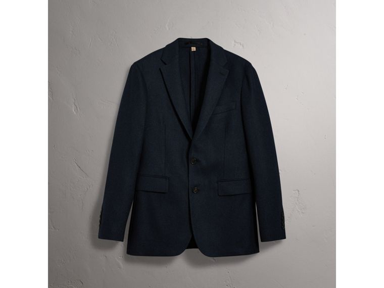 Soho Fit Herringbone Wool Tailored Jacket in Ink Blue/black - Men | Burberry - cell image 2
