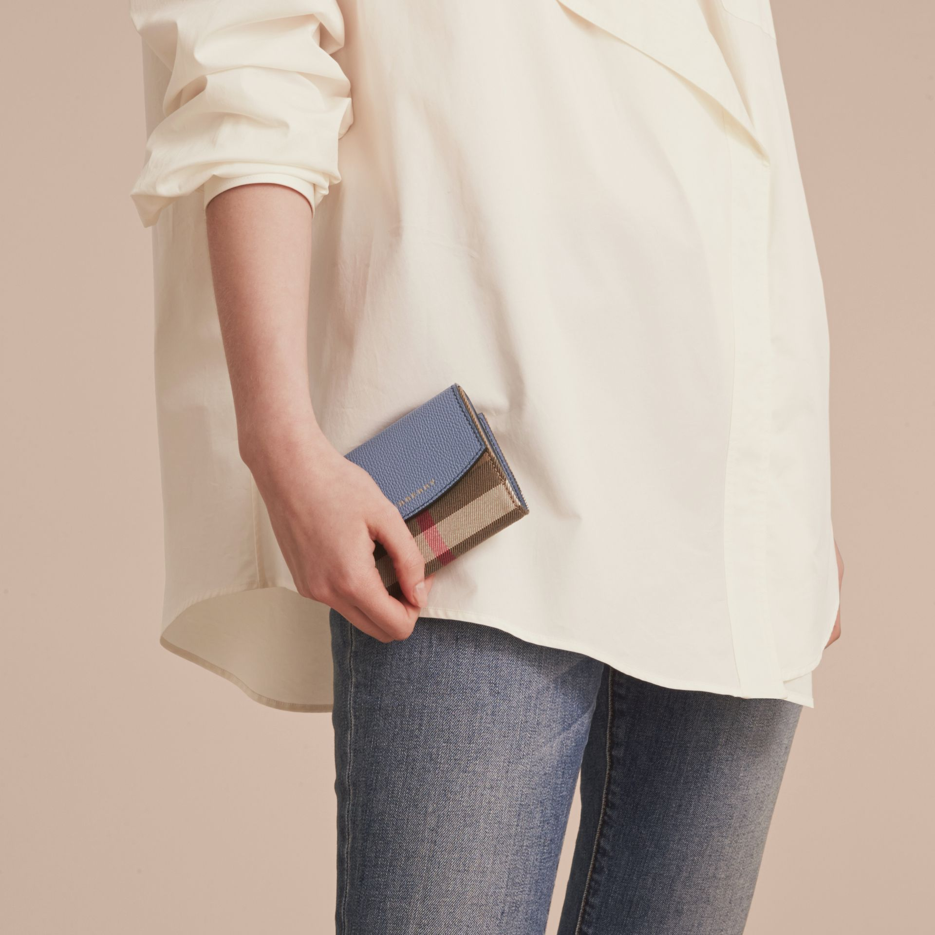 House Check and Leather Wallet in Slate Blue - Women | Burberry - gallery image 2