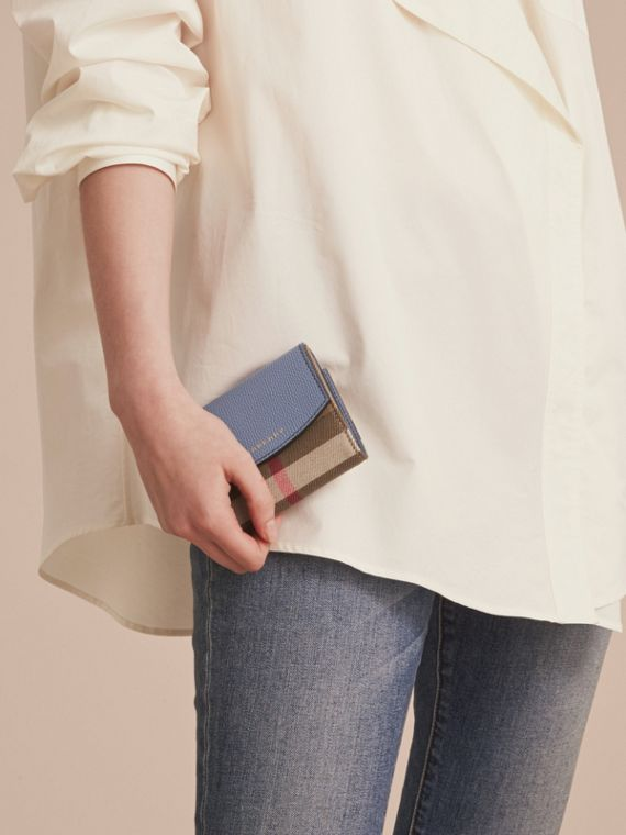 House Check and Leather Wallet in Slate Blue - Women | Burberry United Kingdom - cell image 2