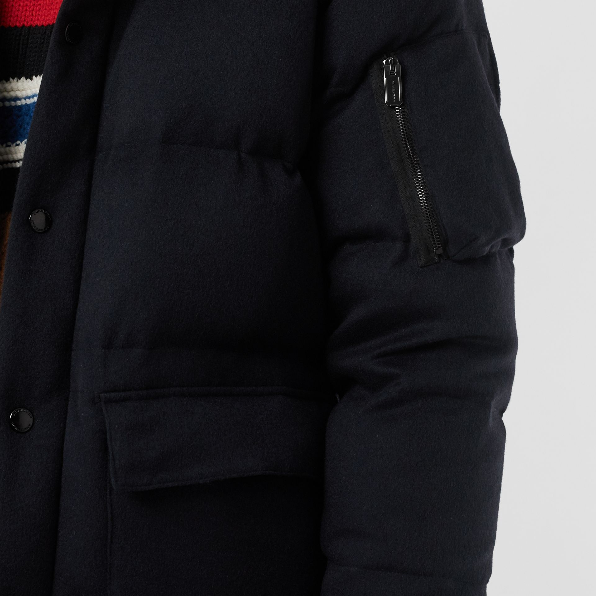 Cashmere Down-filled Hooded Jacket in Navy Melange - Men | Burberry - gallery image 4