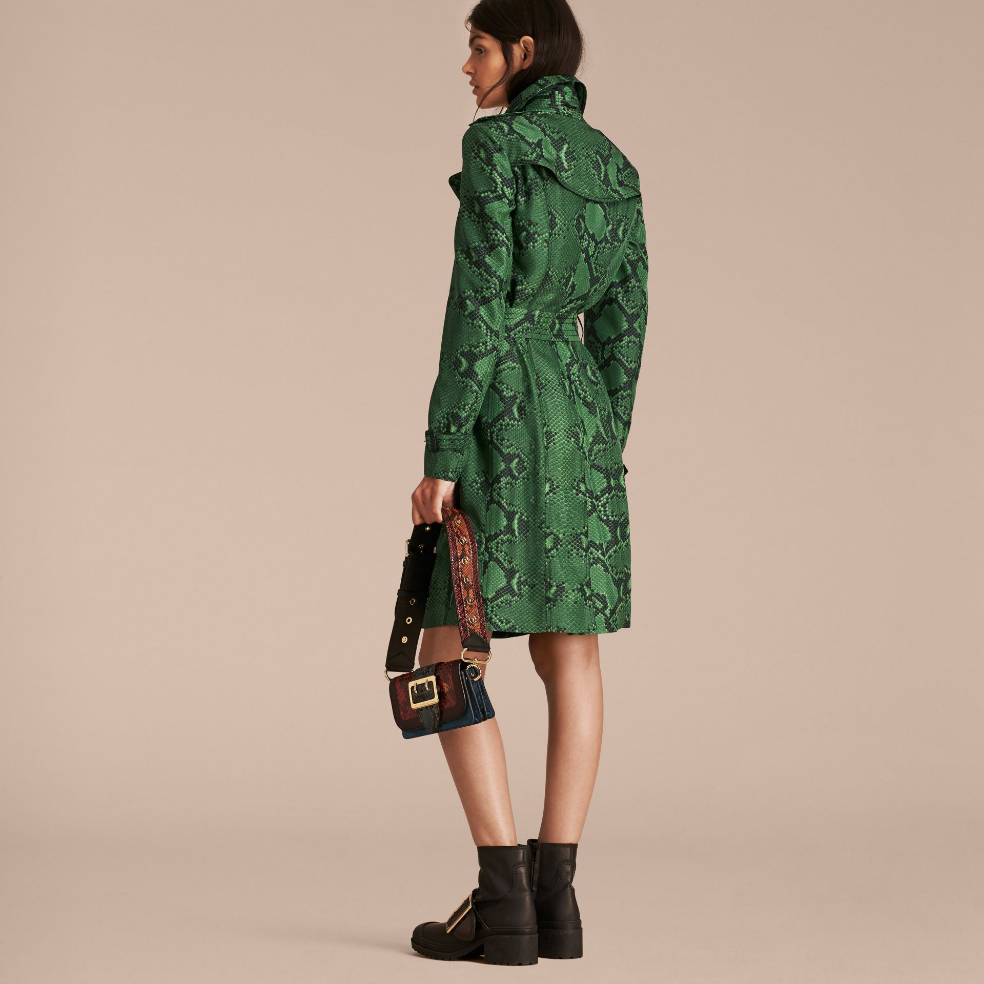 Bright green Python Print Silk Trench Coat Bright Green - gallery image 3