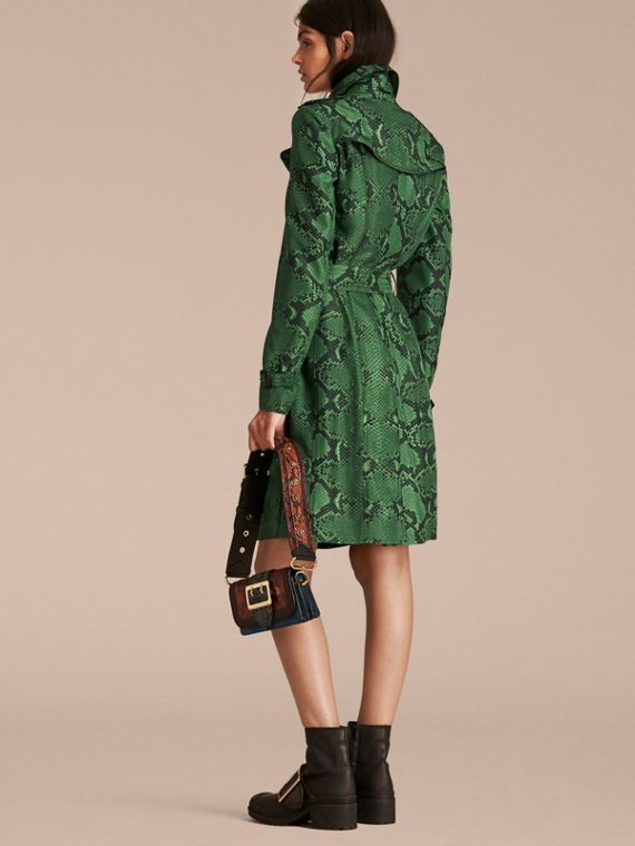 Bright green Python Print Silk Trench Coat Bright Green - cell image 2