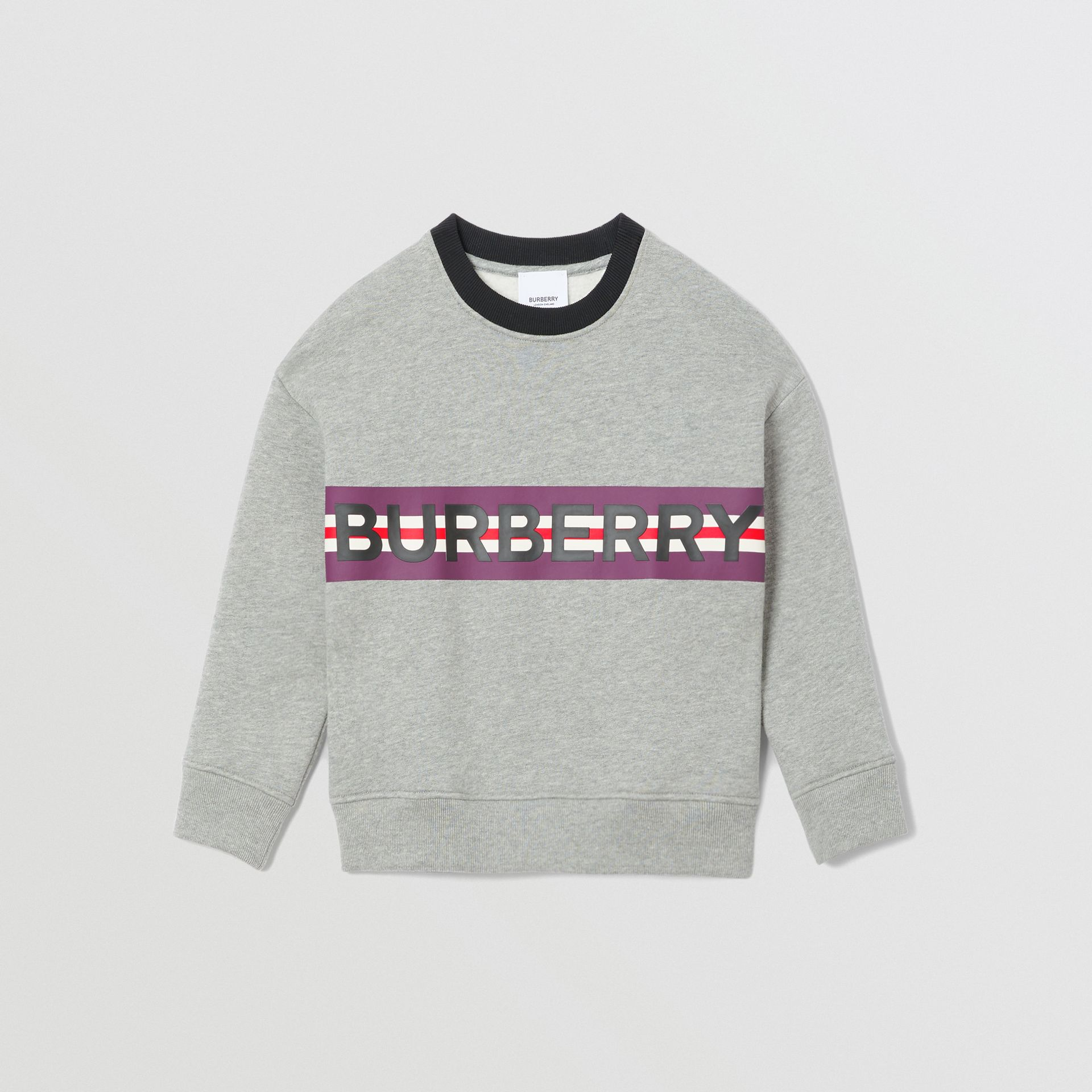 Logo Print Jersey Sweatshirt in Grey Melange | Burberry United Kingdom - gallery image 0