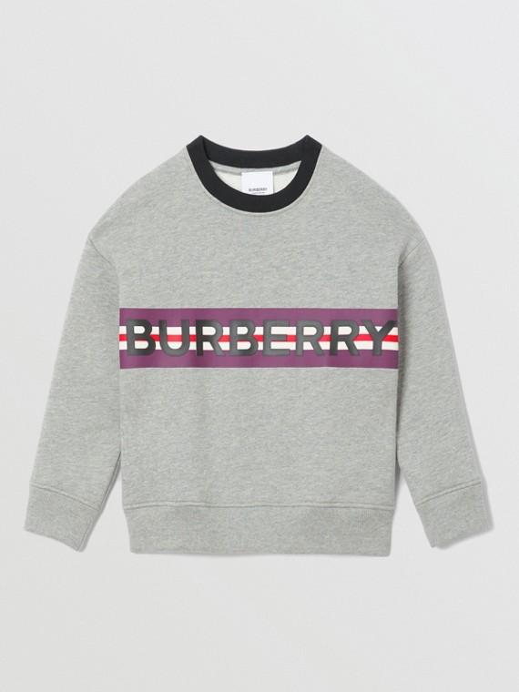 Logo Print Jersey Sweatshirt in Grey Melange
