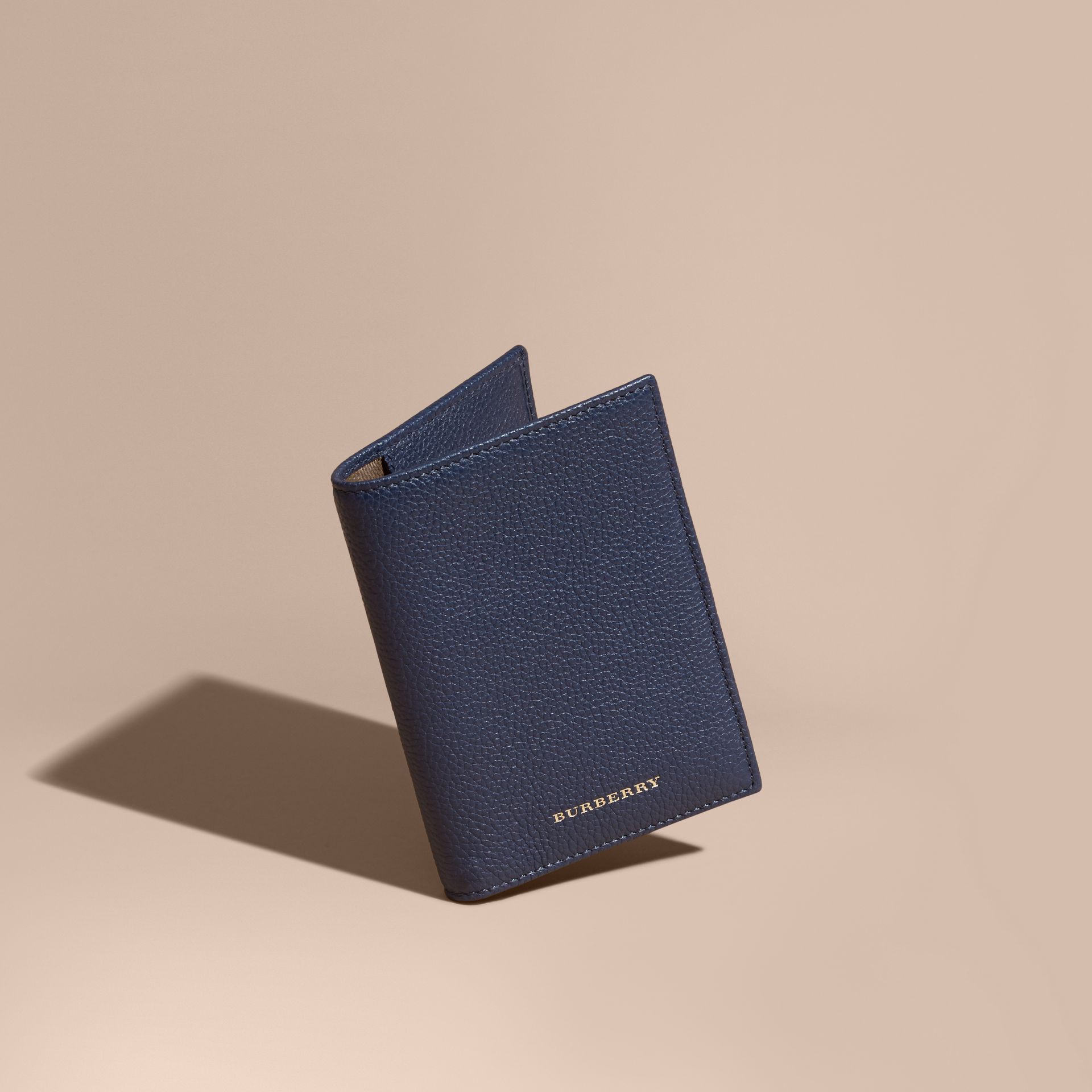 Bright navy Grainy Leather Passport and Card Holder Bright Navy - gallery image 1