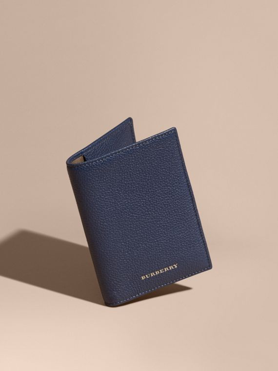 Grainy Leather Passport and Card Holder Bright Navy