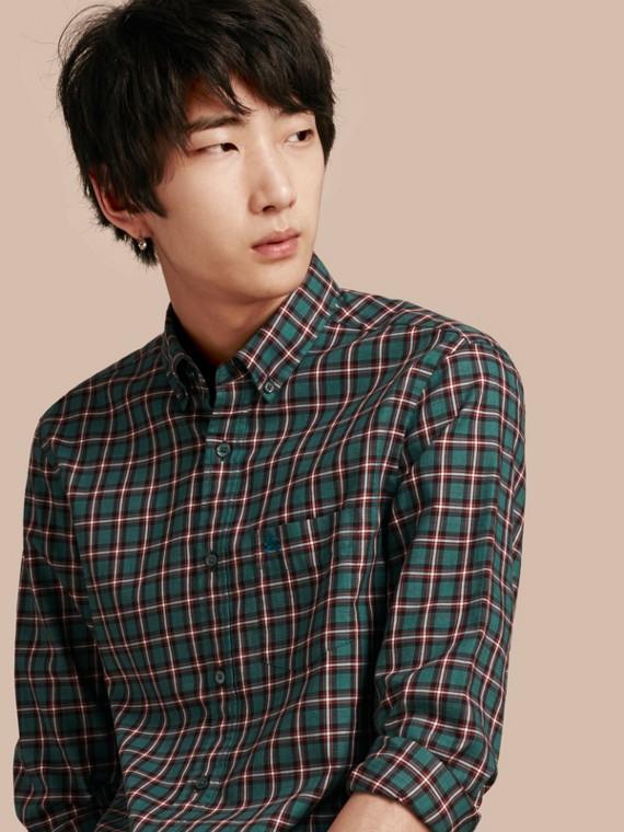 Camicia in twill di cotone con motivo tartan Blu-verde Scuro
