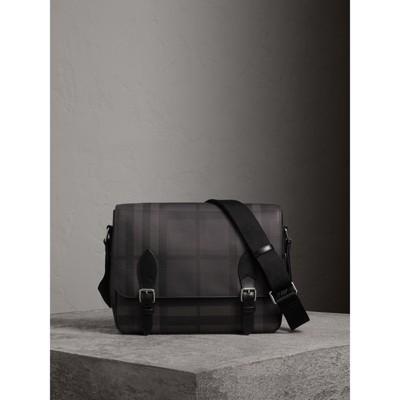 BURBERRY Mittelgroße Messenger-Tasche In London Check Mit Lederbesatz, Charcoal/Black