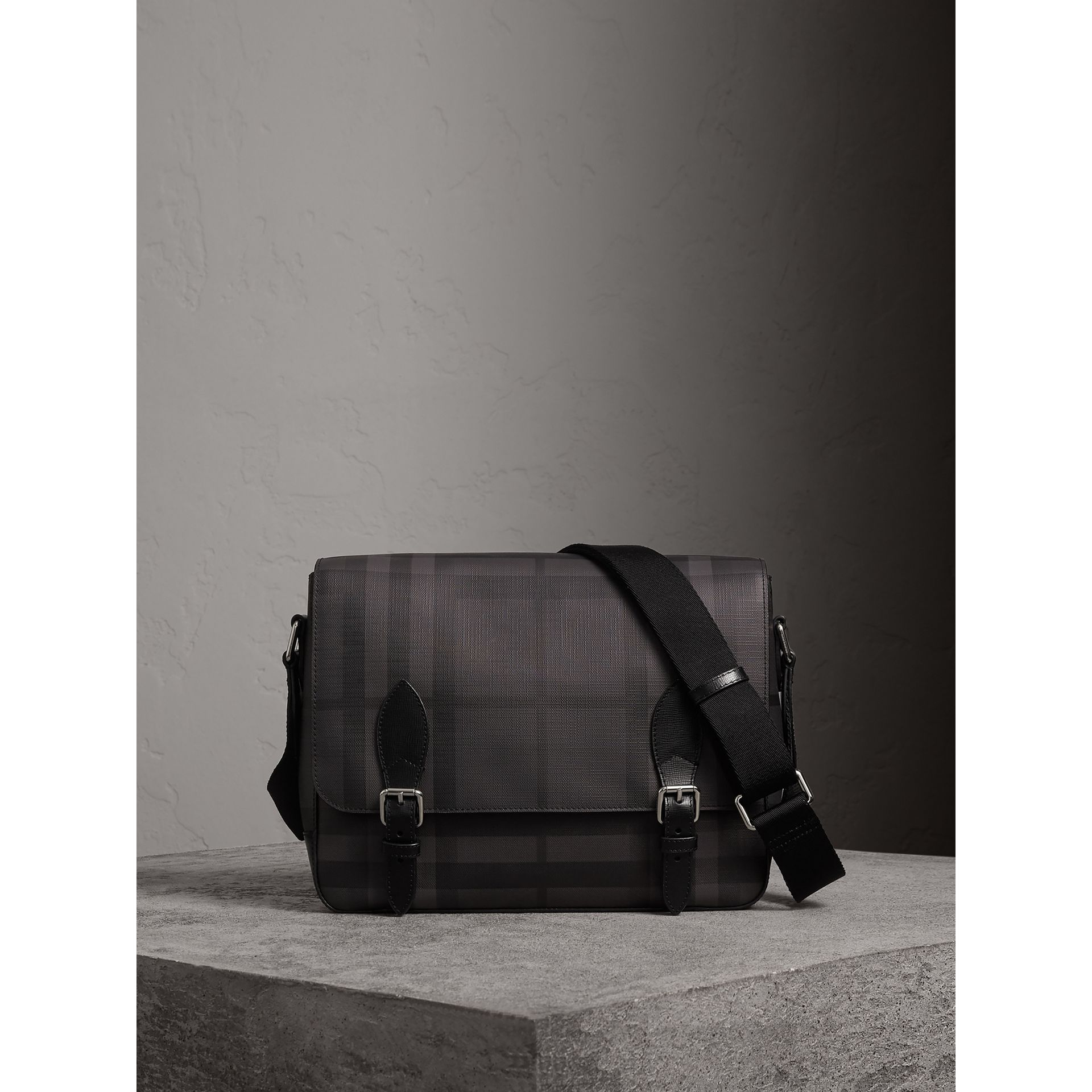 Medium Leather Trim London Check Messenger Bag in Charcoal/black - Men | Burberry United Kingdom - gallery image 0