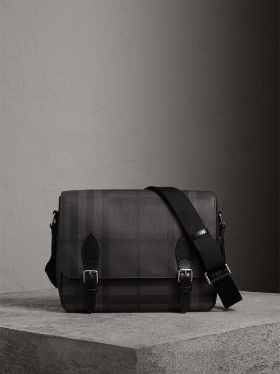 Medium Leather Trim London Check Messenger Bag in Charcoal/black