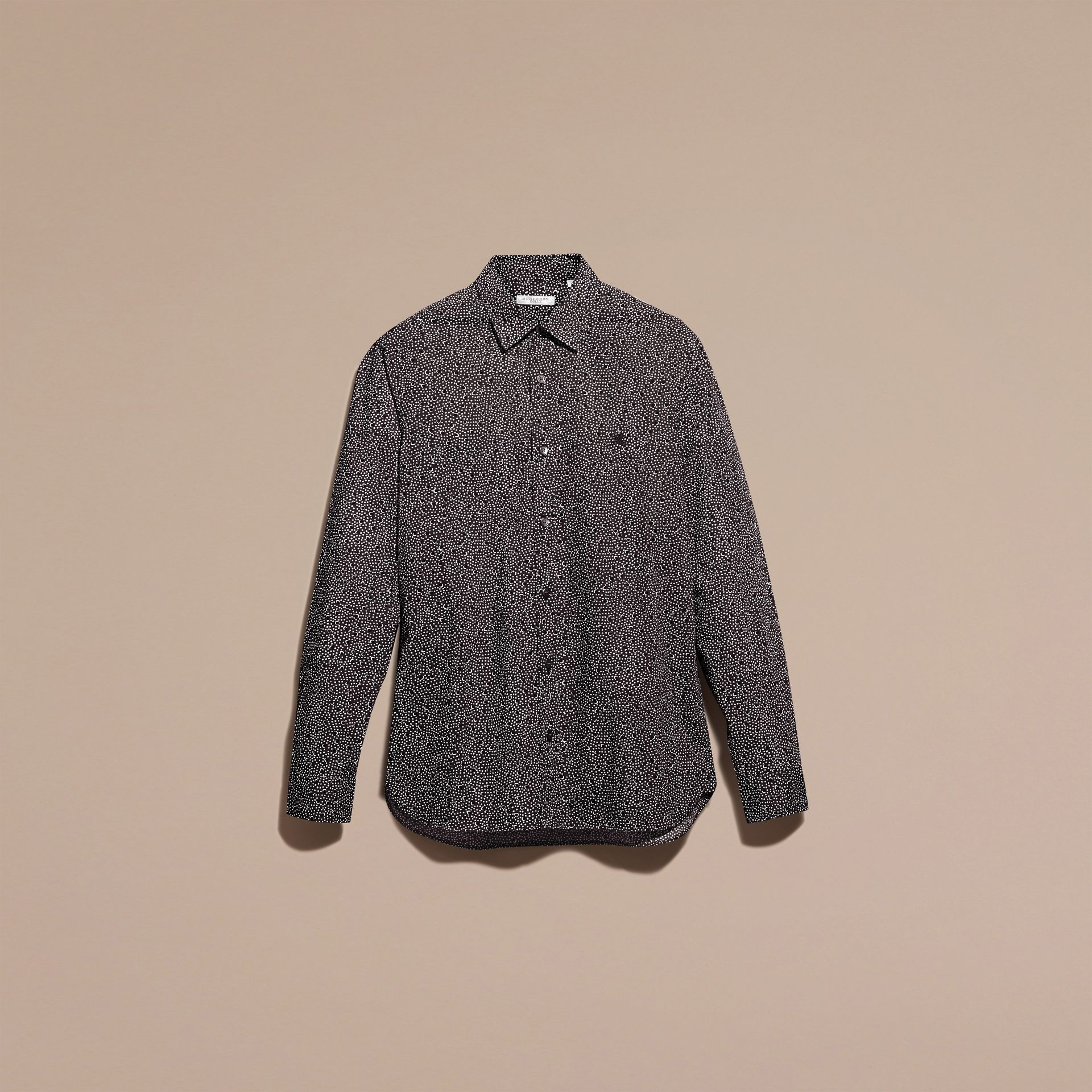Navy Painterly Spot Print Cotton Shirt Navy - gallery image 3