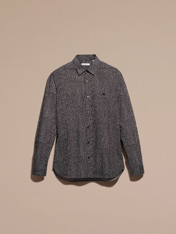 Navy Painterly Spot Print Cotton Shirt Navy - cell image 2