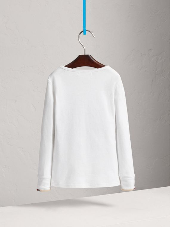 Check Cuff Cotton T-Shirt in White - Girl | Burberry - cell image 3