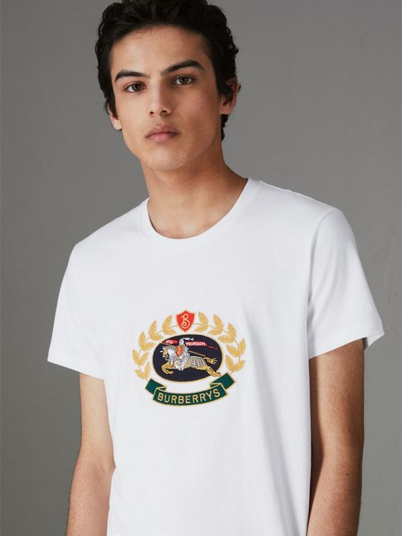 Embroidered Archive Logo Cotton T-shirt in White