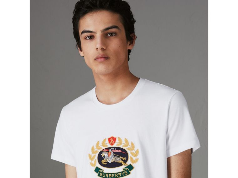Embroidered Archive Logo Cotton T-shirt in White - Men | Burberry - cell image 4