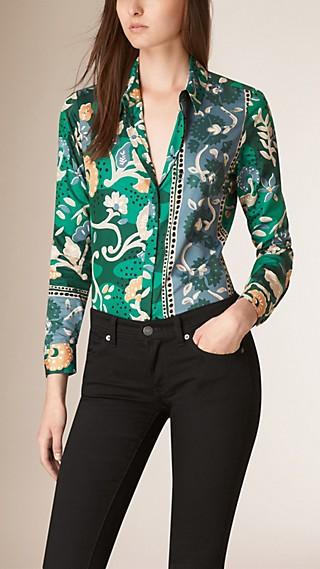 Wood-Cut Floral Print Cotton Silk Shirt