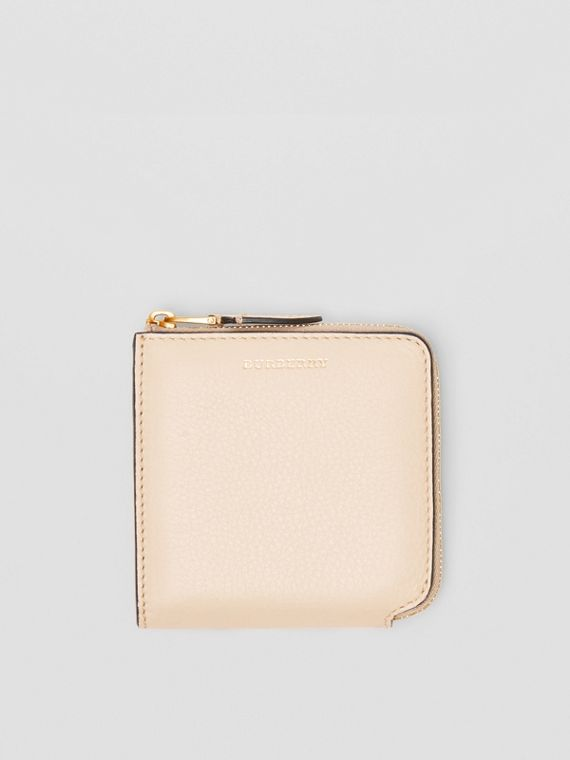 Grainy Leather Square Ziparound Wallet in Limestone