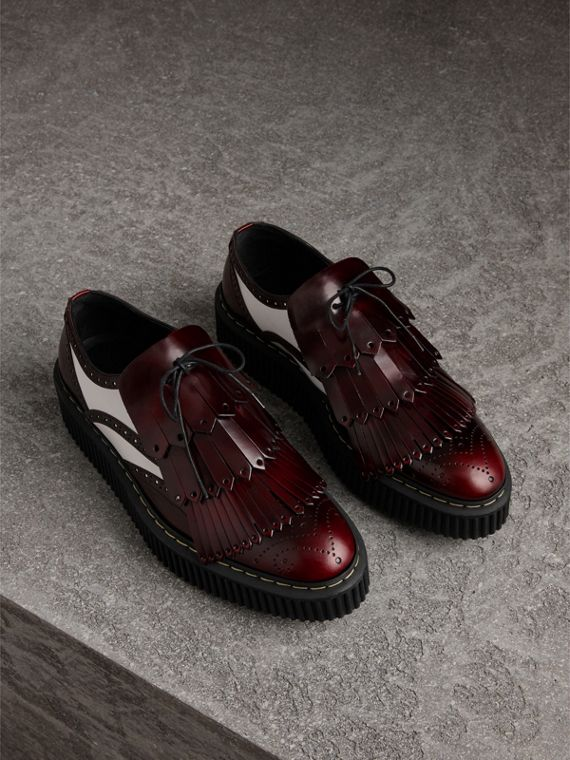 Two-tone Lace-up Kiltie Fringe Leather Shoes in Bordeaux